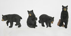 Set of 4 Small Primitive BLACK BEAR Resin Figurines 2.5quot; Tall by Slifka