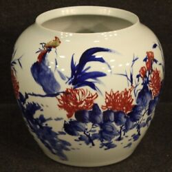 Vase In Painted Ceramic Chinese Cup Antique Style Vintage Oriental 900 Flowers