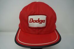 Rare VTG Dodge Spell Out Patch Fitted Hat Cap 80s 90s Automotive USA Red SZ M-L