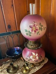 100 Original Gwtw Gone With The Wind Banquet Kerosene Oil Lamp W/ Roses
