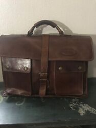 Vintage Overland Outfitters Leather Messenger Bag Brown Laptop Travel Gorgeous