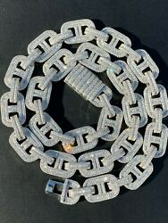 Solid 925 Sterling Silver Baguette Gucci Link Chain Iced 15mm Thick Flooded Out $294.39