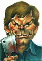 Michael C.Hall Dexter - Original caricature painting - Joan Vizcarra hand signed