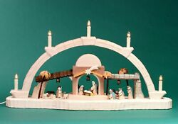Candle Arches Carved Nativity Coloured Seiffen Erzgebirge Christmas Star