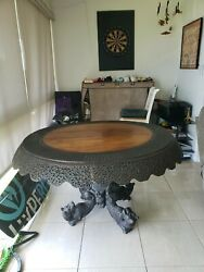 1800and039s Antique Chinese Hand Carved Wooden Table