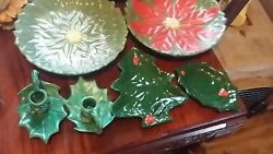 HAND PAINTED VINTAGE POTTERY CHRISTMAS COOKIE CANDY CANDLE HOLDERS
