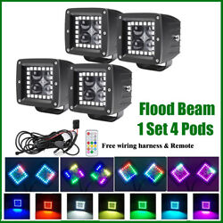 Pack 4 Pods 24w 3 Led Work Light 4d Flood Beam W/ Rgb Halo Multi Color Changing