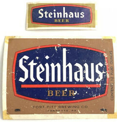 Vintage Steinhaus Beer Label Fort Pitt Brewing Jeanette Pennsylvania And Neckband