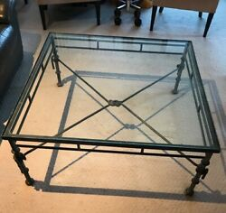 Vintage Giacometti Style Iron And Glass Cocktail/coffee Table