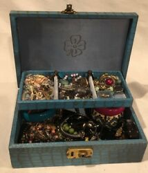 Vintage Mixed Jewelry Lot Box 925 Sterling Mixed Metals Cocktail Chunky Estate