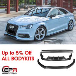 Mx Style Carbon Fiber Front Lip And Rear Diffuser And Side Skirt Bodykit For Audi S3