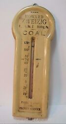 1940s Howard Zweizig Coal Advertising Thermometer Sign Reading Pa Phone 9-2560