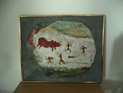 Hunting Scene Etched In Stone Native American/african 11 Lbs. 19 X 15
