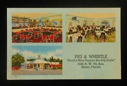 1940s Interiors Pig And Whistle South's Most Popular Bar-b-q-grille 7th Miami Fl
