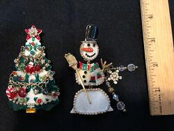 Vintage LUNCH AT THE RITZ Large Gold Tone Christmas Tree Pins Brooch Pendants