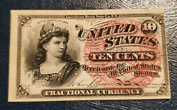 1863 4th Issue Ten Cents United States Fractional Obsolete Currency Gem Unc