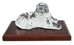 Rare Steuben Glass Noble Lion   Signed Lead Crystal W/ Base African Safari Cat