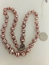 Venetian Murano Glass Lamp Work Vintage Beads Red Silver Candy Cane