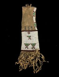 Old Antique Native American Sioux Indians Beaded Pipe Bag Pouch Beadwork