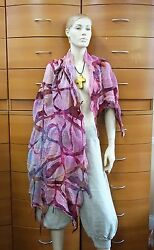 Scarf Felted Summer Shawl Wrap Organic Cotton Gauze Made In Europe Holiday Gift