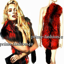 Dolce And Gabbana Black Needle Red Fox Fur Stole Shawl Scarf For Dress And Jacket