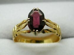 Victorian 1879 Lovely 18 Carat Gold And Garnet Ornate Ladies Ring Size M.1/2