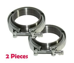 2 Pieces 2.5and039and039 V-band Flange And Clamp Kit For Turbo Exhaust Downpipes Mild Steel