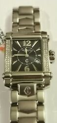 Charriol Columbus Rectangle Black Dial And Diamond Watch Great Valentine Gift