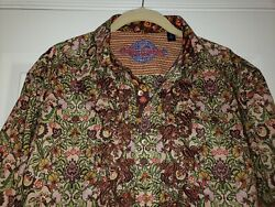 Robert Graham L Multicolored Floral Embroidered Long Sleeve Shirt Flip Cuff