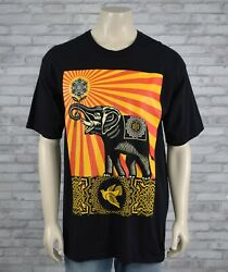 OBEY Peace Elephant T Shirt Mens XL Black 100% Cotton Dove Good Condition