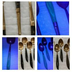 Vintage Old Buffalo Horn And Bronze Flatware