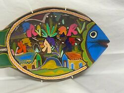 Mexico Mexican Fish Shaped Wall Plate Bowl Red Clay 11 1/4 Ceramic Vintage