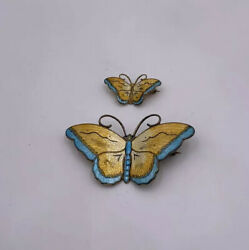 Matched Pair Hroar Prydz Norway Sterling Silver And Enamel Butterfly Pins Brooches