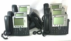 Lot Of 7 Cisco Ip Phone 7900 Series Voip Cp-7941g Office Telephones