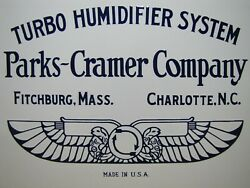 Parks-cramer Co Turbo Humidifier System Antique Porcelain Sign Made In Usa Logo