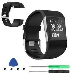 Large For Fitbit Surge Watch Tracker Replacement Strap Band Wristband w Tool $8.35