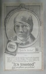 Lucky Strike Ad Aviatrix Amelia M. Earhart From 1928 Size 10 X 17 Inches