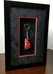 Ringside Framed Autographed Angelo Dundee Red Miniature Boxing Glove Keychain
