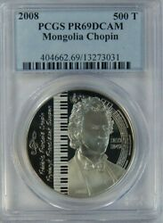 2008 Mongolia Silver Proof Color 500 Togrog Frederic Chopin