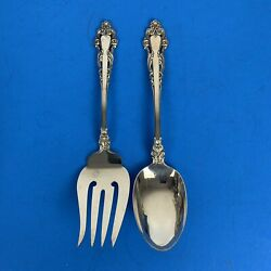 Reed And Barton Grande Renaissance 8-1/2andrdquo Serving Spoon And Fork Sterling Silver