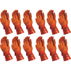 Atlas 620 Vinylove Double-dipped Large Pvc Chemical Resistant Gloves 12-pairs