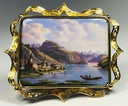 Antique 19th Century Swiss Enamel Chateau Landscape 14k Yellow Gold Framed Pin