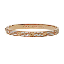 Cartier Pave Diamond Love Bangle  Bracelet 18K Rose Gold Size 19