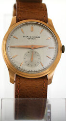 Rare Vintage 1940s Baume And Mercier 18k Pink Rose Gold Watch Fixed Lugs Calatrava