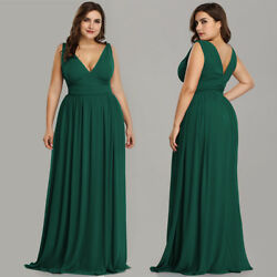 Ever-Pretty Plus Size Long Bridesmaid Prom Dress V-neck Celebrity Cocktail Gowns