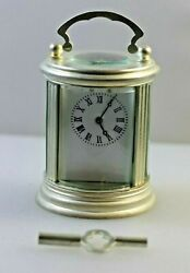 Round Miniature Carriage Clock Silver Plated