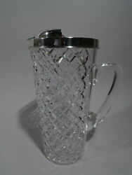 Hawkes Bar Pitcher - Midcentury Modern - American Sterling Silver Glass