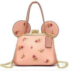 Disney x COACH Minnie Mouse Floral Kisslock Leather Bag - Pink FS