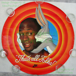 Nitf Vintage Nike Poster That's All Folks Round Michael Jordan Bugs Bunny Hare