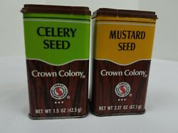Crown Colony Spice Tin Lot Of 2 1980s Vintage Celery Seed Mustard Seed